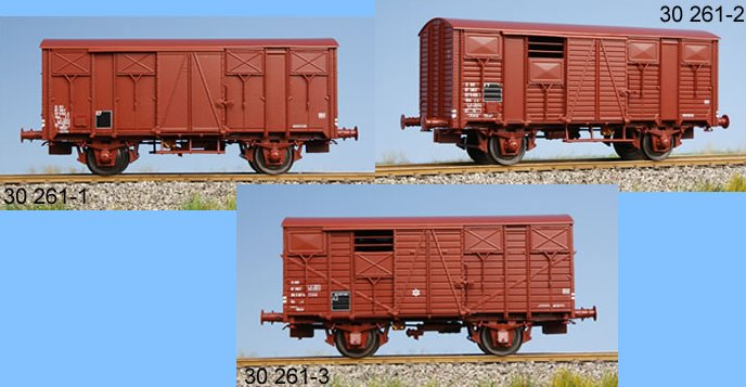 Set de 3 wagons  couverts  rouge  UIC   ep IV -
